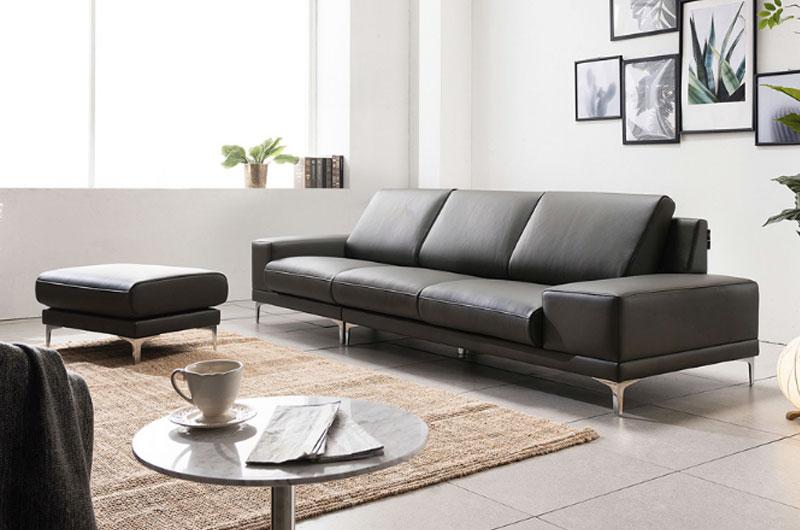 bộ ghế sofa văng da màu đen cho phòng khách chung cư nhỏ