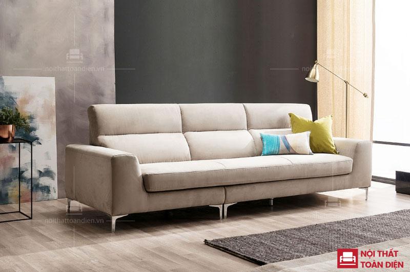ghế sofa văng da màu trắng sữa da mã 104 cho phòng khách chung cư nhỏ