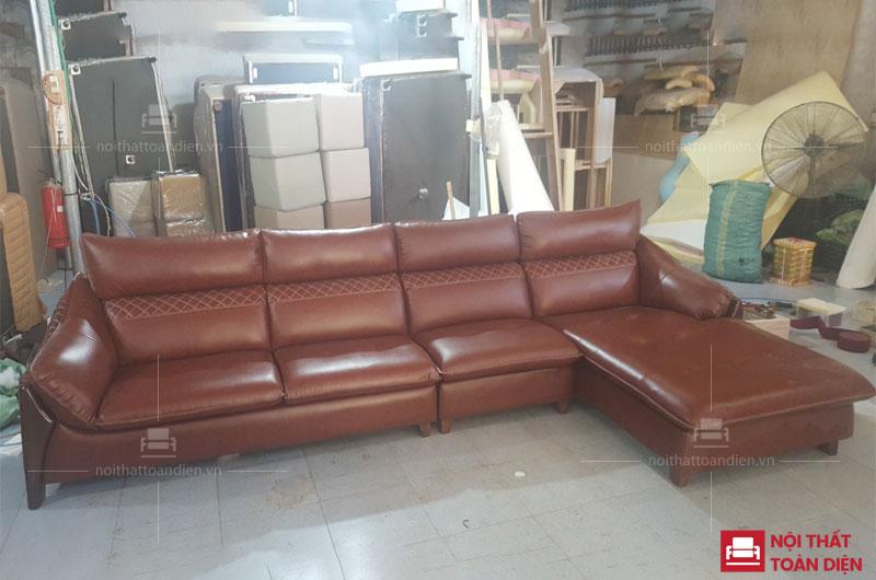 bộ ghế sofa góc da phòng khách viền gỗ may quả trám